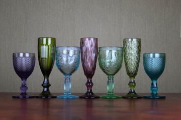 seven glasses for alcoholic beverages