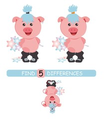Find differences between pictures. Vector cartoon educational game. Cute pig with starts.