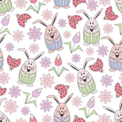Vector floral seamless pattern with cute rabbits, ladybug and flowers. Flat objects made of childish style on a white background