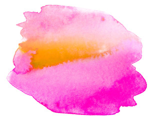 yellow pink watercolor texture paint blot on white background isolated
