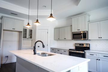 Modern new Construction White Kitchen Grey cabinets