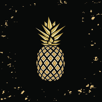 Golden pineapple. Pineapple. Pineapple close up. Pineapple in Low Poly style.