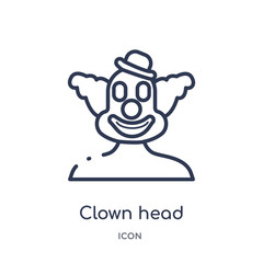 clown head icon from party outline collection. Thin line clown head icon isolated on white background.