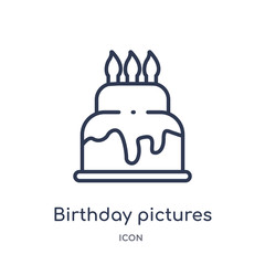 birthday pictures icon from party outline collection. Thin line birthday pictures icon isolated on white background.