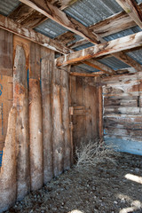 Interior of old wooden farm building