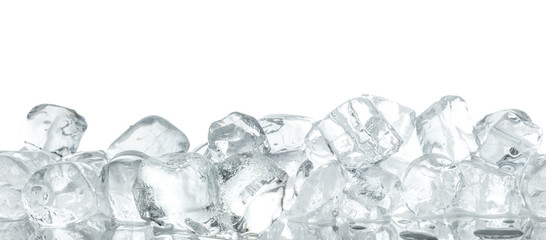 Ice cubes heap background. Isolated on white with clipping path.