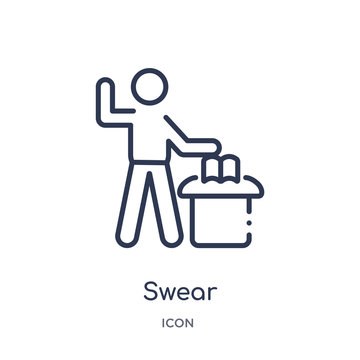 swear icon from people outline collection. Thin line swear icon isolated on white background.