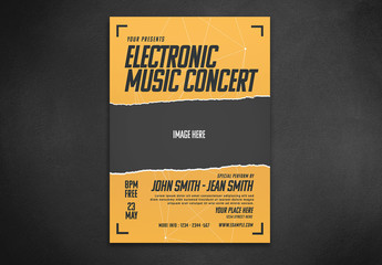 Electronic Music Flyer Layout with Yellow Accents