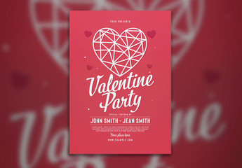 Valentine Party Flyer Layout with Hearts