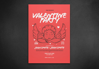 Valentine Party Flyer Layout with Illustration of an Angel