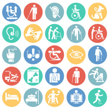 Disability icons set on color circles white background for graphic and web design, Modern simple vector sign. Internet concept. Trendy symbol for website design web button or mobile app