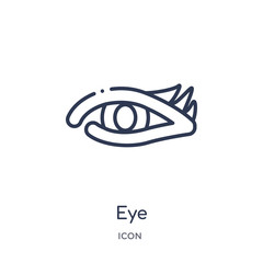 eye icon from photography outline collection. Thin line eye icon isolated on white background.