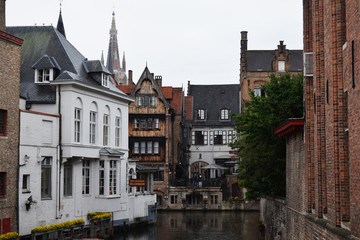 Brugge attractions. The old town hall of Bruges. Brugge streets and historic center. canals and buildings.
