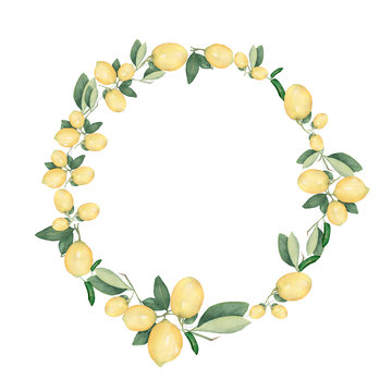 Hand drawn round frame of watercolor lemon. Watercolor illustration wreath of lemon and leaves. Can be used as a greeting card for background, birthday, mother's day,etc..