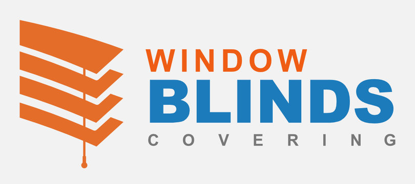 Window blinds covering logo company