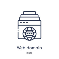 web domain icon from programming outline collection. Thin line web domain icon isolated on white background.