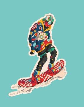 fashionable male cruising on a snowboard