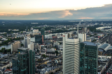 Fotomurales - Modern skyline of Frankfurt, Germany financial business district.