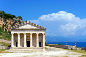 Facade of the Church of St. George in Corfu, Greece.
