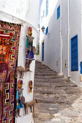 Crafts on a wall in Sidi Bou Said, Tunisia