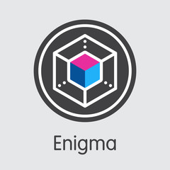 ENG - Enigma. The Logo of Virtual Currency or Market Emblem.
