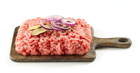 raw minced meat and spices