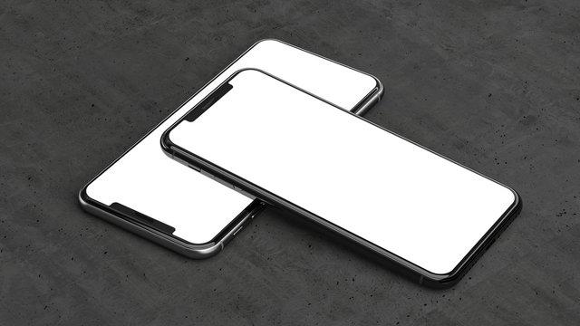 Smartphones with blank screen.