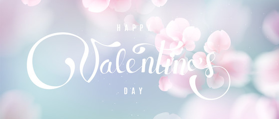 Happy Valentine's day soft color pastel background with flower petals and lettering.