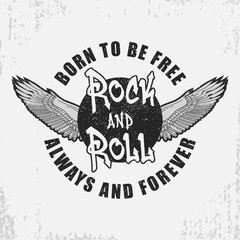 Rock and roll t-shirt design with wings and grunge. Rock-n-Roll typography graphics for tee shirt with slogan. Apparel print. Vector illustration.