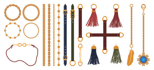 Set of chains, straps and belts, braid and pendant. Fashion jewelry elements print for fabric design. Vector illustration.