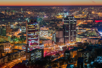Fototapete - Night Kiev aerial view