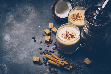 Coconut latte. Vegan coffee drink concept. Coffee with coconut milk. Health products