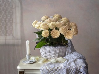 Still life with magnificent  bouquet of white roses for Valentines Day