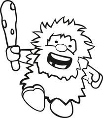 Ausmalbild niedlicher rennender Neandertaler mit Keule
