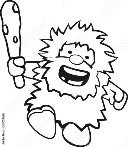 Ausmalbild Niedlicher Rennender Neandertaler Mit Keule Stockfotos