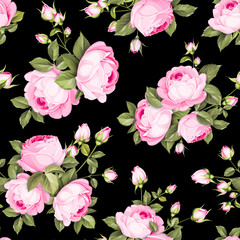 The Rose seamless pattern. Red Roses flowers on wallpaper, seamless pattern template. Vector illustration.