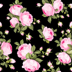 The Rose seamless pattern. Red Roses flowers on wallpaper, seamless template. Vector illustration.