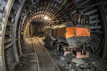 Illuminated, Underground Tunnel in the Mine
