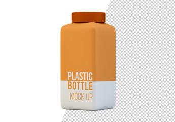 Square Plastic Bottle Mockup