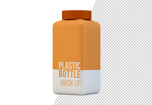 Square Plastic Bottle Mockup