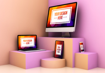 Devices on Various Pink and Orange Platforms Mockup