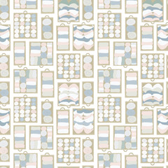 Drawer organization seamless vector background. Closet organization illustration. Tidy up pattern. Declutter and tidying up concept. Different drawers with folded clothes. Bras, socks, shirts.