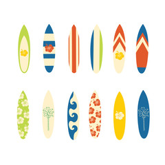 Surfboard vector icon set. Surf sport design in retro colors. Summer vacation travel illustration. Surf sport design. Vintage Surf sport. Use for beach wear, home decor, surf store, event flyer.
