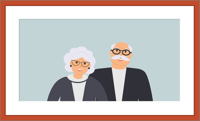 Happy family seniors portrait: cute smiling elderly man and woman on the light blue background in the wooden brown frame. Retired elderly couple in love.Vector flat illustration