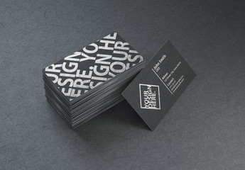 Stacked Black Business Cards Mockup