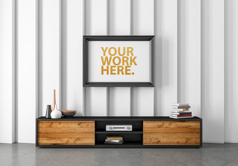 Framed Print with Wooden Console Mockup