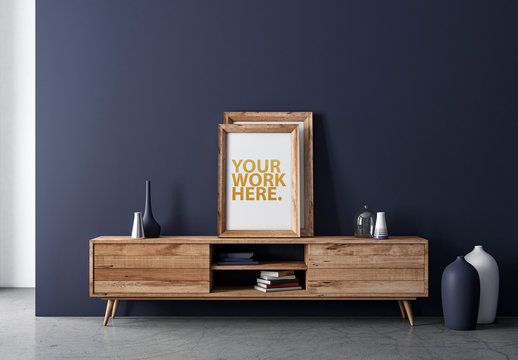 Framed Print on Wooden Console Mockup
