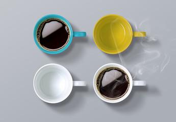 Top View of 4 Coffee Mugs Mockup