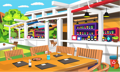 Clean Outdoor Cafe With Nature View And Big Green Tree, Wood Table And Chair, Various Drink Bottles, Trash Can For Vector Illustration Interior Ideas