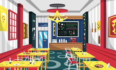 Pizza Cafe With Modern Furniture, Yellow Table, Red Chair, Wall Picture, Cashir Machine, Classic Lamp For Vector Illustration Interior Ideas
